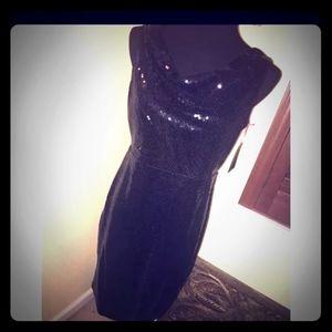 NEWBlack Sequin Cow Neck Dress (Size 8)